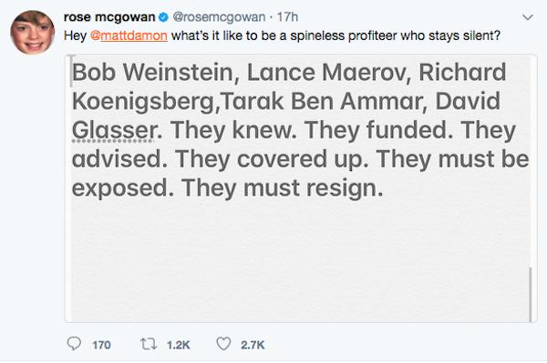 A crítica feita pela atriz Rose McGowan ao ator Matt Damon e aos sócios de Harvey Weinstein nas produtoras Miramax e Weinstein Co. (Foto: Twitter)