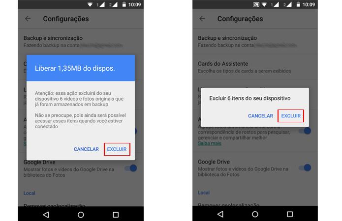 Opção vai apagar arquivos do dispositivo (Foto: Reprodução/Google)