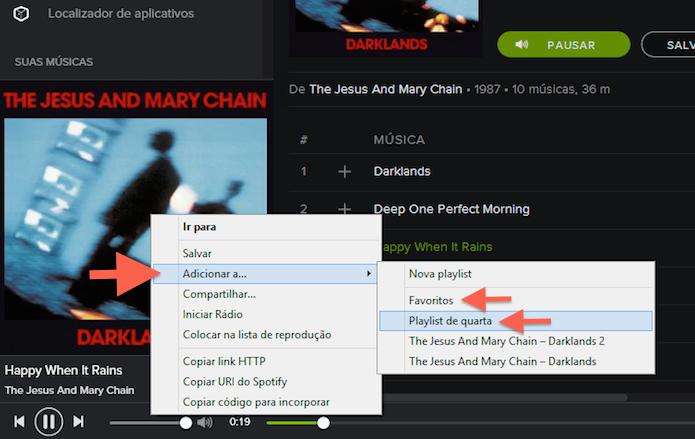 Enviando uma música para uma playlist ou para a pasta de favoritos do Spotify (Foto: Reprodução/Marvin Costa)
