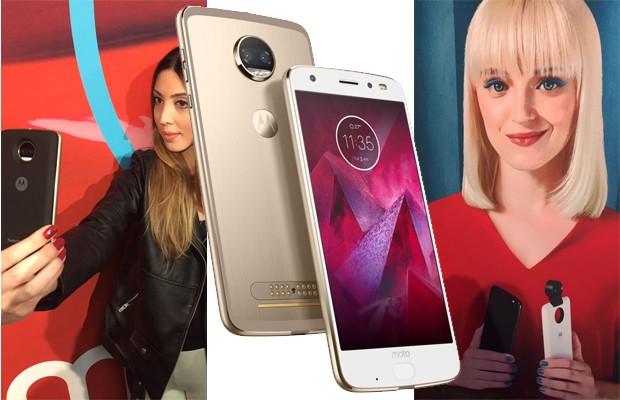 Lançamentos Motorola: a repórter Paula Mello testa a câmera do Moto Z2 Force (à esquerda) e a modelo segura a Moto Snap Câmera 360 (à direita) (Foto: Divulgação e Paula Mello)