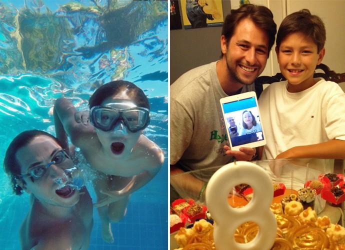 Emanuel se diverindo com Lucas na piscina e comemorando o aniversário de 8 anos (Foto: Arquivo Pessoal)