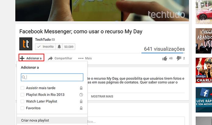Adicione vídeo que deseja transmitir em loop a uma playlist do YouTube (Foto: Reprodução/Elson de Souza)
