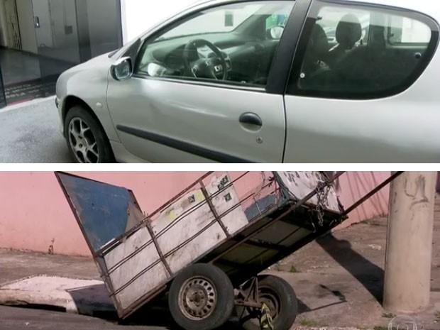 Carro de Denis Kim e carroça de Aldemir Pontes (Foto: Reprodução / TV Globo)
