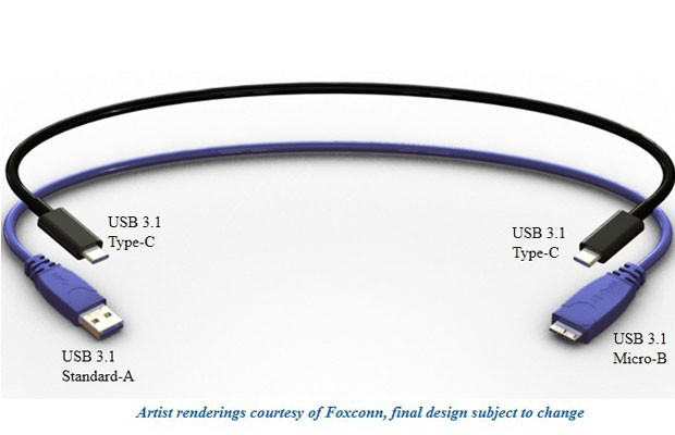 Novo modelo de UBS, o TIPO-C, em comparação aos modelos utilizados atualmente.  (Foto: Divulgação/USB)