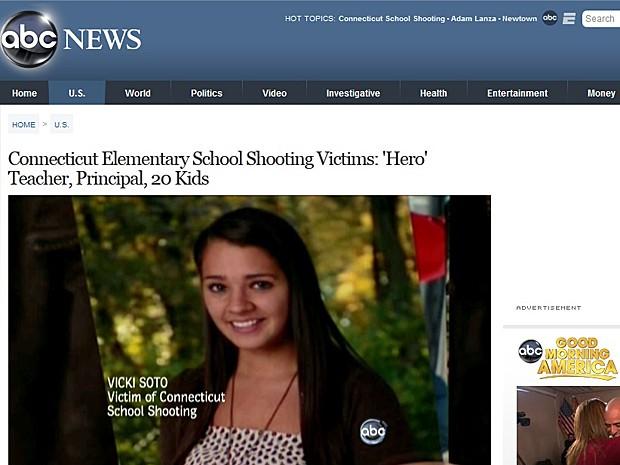 Professora Victoria Soto Sandy Hook (Foto: ABC News/Reprodução)