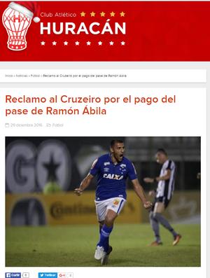 Huracán emitiu nota cobrando o Cruzeiro por parcela atrasada na compra dos direiros de Ábila (Foto: Reprodução/Internet)