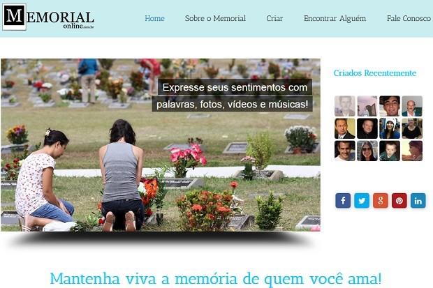 Página inicial do Memorial Online, rede social criada por empresário de Brasília para abrigar perfis de pessoas mortas (Foto: Memorial Online/Reprodução)