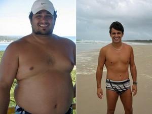 """""""Tirar essa doença de mim melhorou muito a minha vida e me trouxe muita felicidade. Hoje estou saudável e vivo feliz"""", diz Fernando. A primeira imagem mostra o brasiliense com 149 kg e a segunda mostra a perda de peso (Foto: Arquivo pessoal/Fernando Albernaz)"""