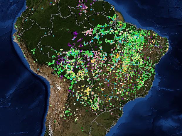 Mapa do Inpe mostra focos de incêndio no país em tempo real (Foto: Inpe)