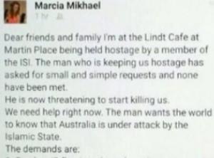 Mensagem postada por Marcia Mikhael em rede social afirma que ela está em cafeteria de Sydney (Foto: Reprodução/Facebook)