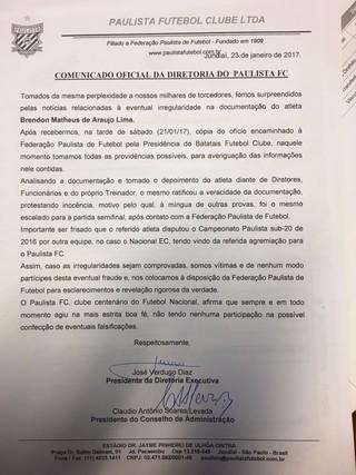 Nota oficial do Paulista de Jundiaí sobre o caso Brendon (Foto: Natália de Oliveira)