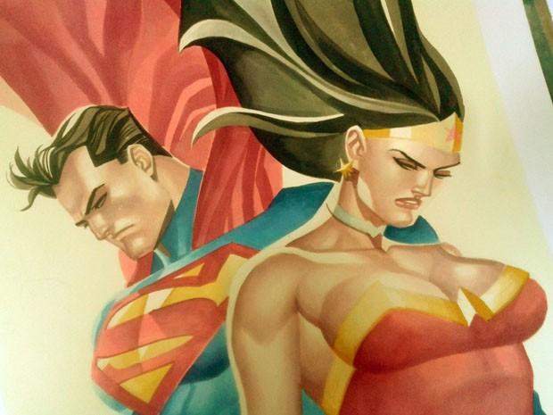Desenhar personagens conhecidos e mais tradicionais, como Super Homem e Mulher Maravilha, é mais tranquilo, acredita o ilustrador (Foto: Thony Silas / Arquivo pessoal)