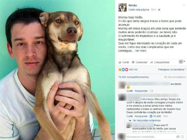 Ninão, cachorro que tem mais de 600 mil seguidores no Facebook morreu na terça-feira (13) em Curitiba (Foto: Reprodução/Facebook)