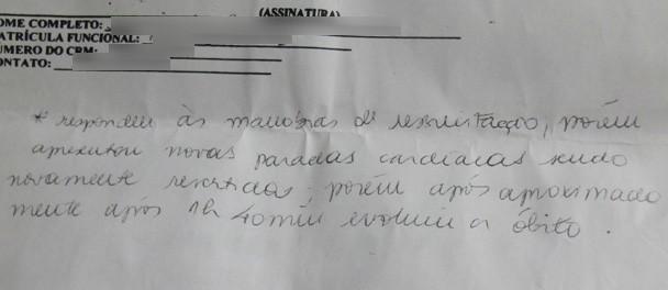 Certificado do PAM do Irajá atesta que Andressa teve paradas cardíacas poucos horas após receber alta da UPA da Penha (Foto: João Bandeira de Mello/G1)
