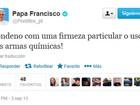 No Twitter, Papa Francisco critica o uso de armas químicas