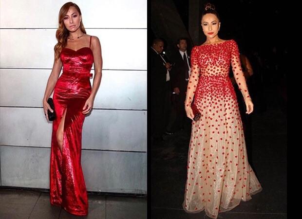 Vermelho em dois estilos - sexy, num look PatBo, e romântico, num modelo da grife Carolina Herrera (Foto: Reprodução)