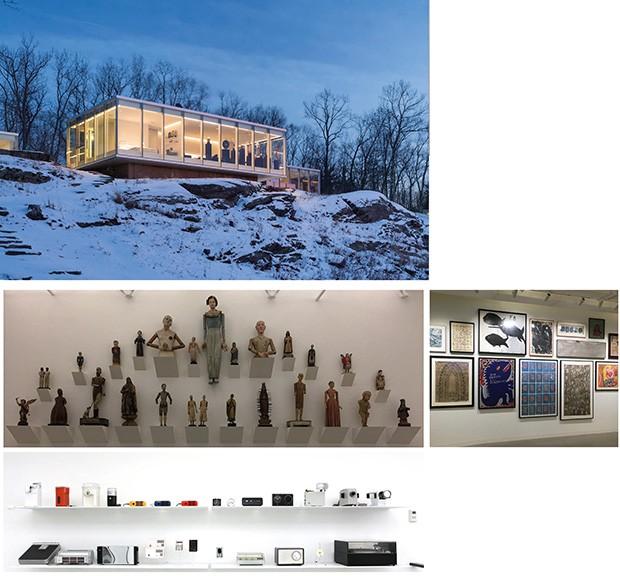 """Inspiração;Vida;Cultura;Estética Greenberg testou o conceito de """"espaços abertos"""" em arquitetura em sua casa envidraçada (à esq.), em Hudson Valley. Suas coleções vão de esculturas e pinturas de autodidatas, os """"outsiders"""", a ícones da tecnologia (Foto: Divulgação)"""