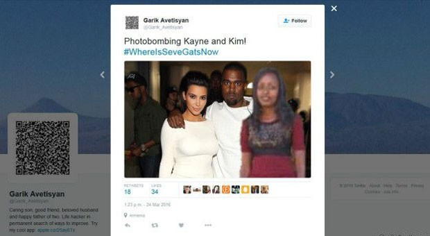 "Seve ""com"" Kim Kardashian e Kanye West (Foto: Reprodução/Twitter/Garik Avetisyan)"