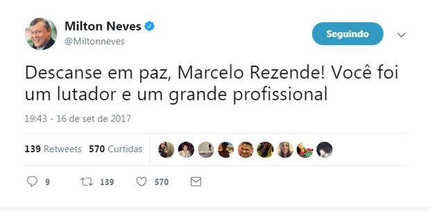 Milton Neves lamenta morte de Marcelo Rezende (Foto: Reprodução)