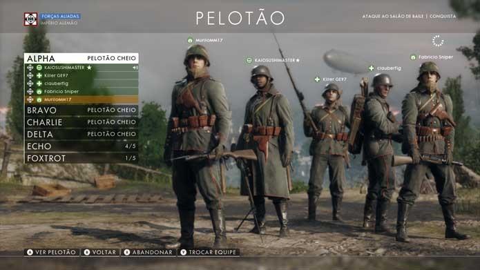 Crie seu pelotão com amigos no Battlefield 1 (Foto: Reprodução/Murilo Molina)