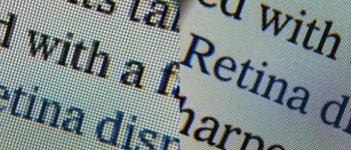 Comparação entre tela Retina, à direita, e tela comum (Foto: Reprodução/Mashable) (Foto: Comparação entre tela Retina, à direita, e tela comum (Foto: Reprodução/Mashable))
