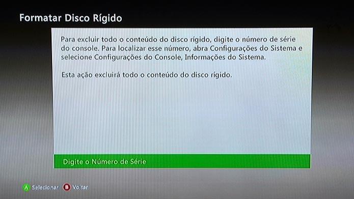Digite o número de série do Xbox 360 para confirmar a formatação (Foto: Reprodução/Tais Carvalho)