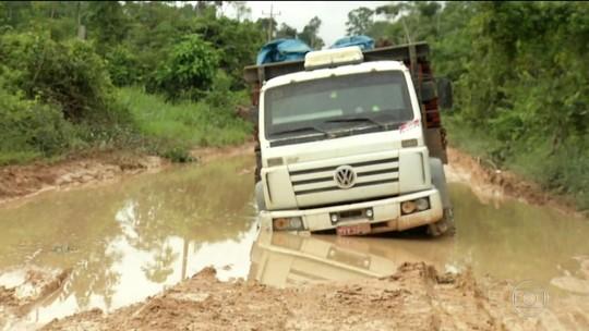 Lama deixa 3 mil caminhões parados há mais de uma semana na BR-163