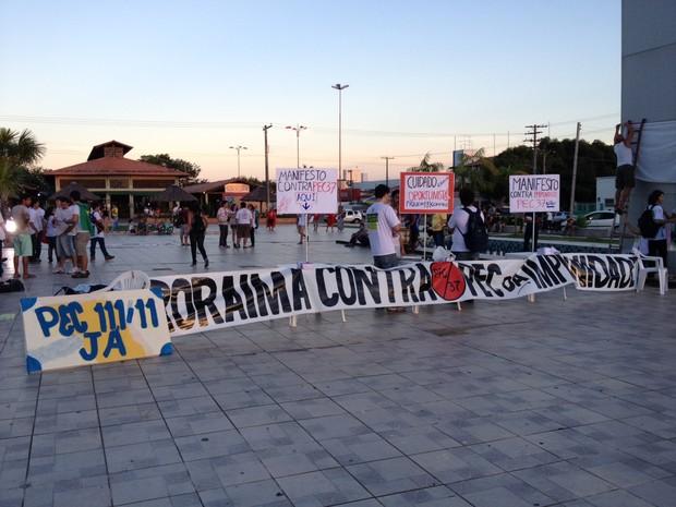 Manifestação em Roraima espera reunir 10 mil pessoas (Foto: Neidiana Oliveira/G1)