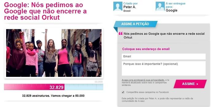 A petição online já reúne mais de 30 mil assinaturas e pede que o Orkut não seja descontinuado pelo Google (Foto: Reprodução/Avaaz)