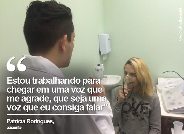 Patrícia é paciente do laboratório de fonoaudiologia (Foto: Cristina Boeckel/ G1)