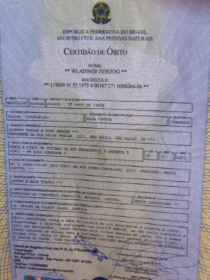 Novo atestado de óbito de Vladimir Herzog tem 'maus-tratos' como causa de morte (Foto: Tatiana Santiago/G1)