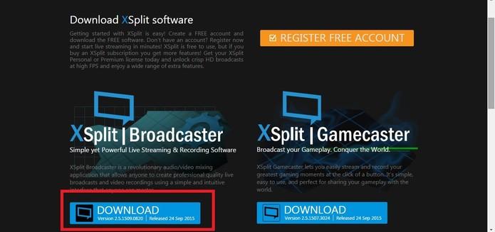 Escolha XSplit Broadcaster e clique em Download (Foto: Reprodução/Juliana Pixinine)