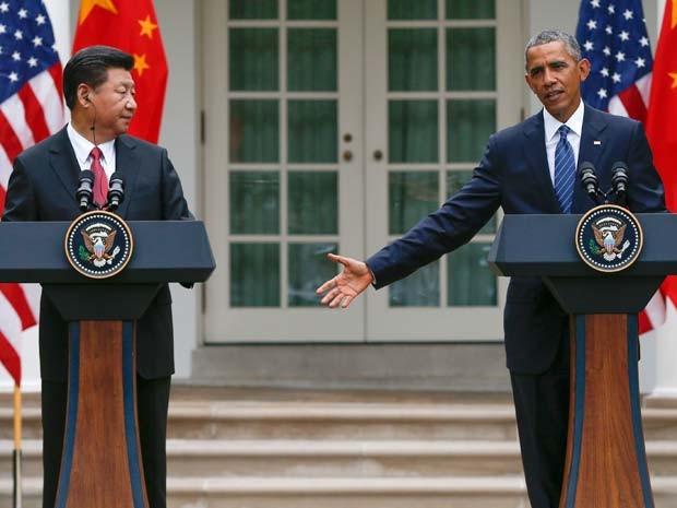 Xi Jinping e Barack Obama concedem coletiva de imprensa nesta sexta-feira (25) na Casa Branca após reunião bilateral (Foto: AP Photo/Evan Vucci)