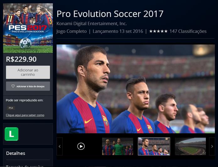 Página de Pro Evolution Soccer 2017 na PlayStation Store (Foto: Reprodução/André Mello)