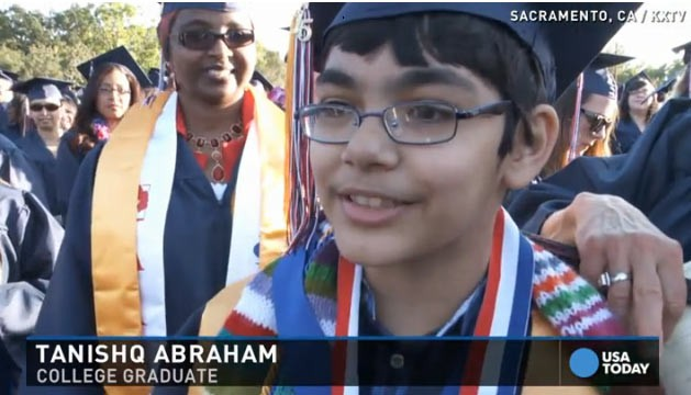 O menino tem 12 anos e já recebeu três diplomas universitários (Foto: Reprodução)
