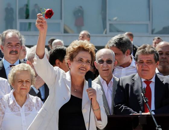 Saída da presidente Dilma Rousseff  do Palacio do Planalto, após a aprovação da admissibilidade do impeachment (Foto: Sérgio Lima/ÉPOCA)