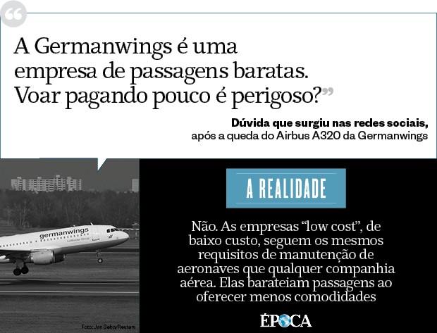 Choque de realidade - A Germanwings é uma empresa de passagens baratas. Voar pagando pouco é perigoso? (Foto: época )