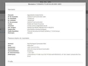 Mandado de prisão foi expedido pela Justiça baiana em agosto (Foto: Reprodução/ Banco Nacional de Mandados de Prisão)