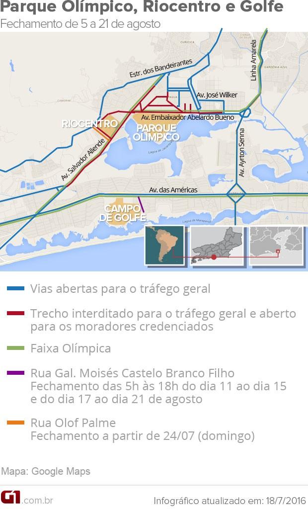 Parque Olímípico Interdição (Foto: Editoria de arte/G1)