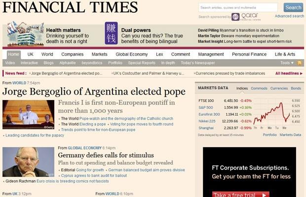 """Papa Francisco I é o primeiro não-europeu em mais de mil anos, destaca o jornal econômico """"Financial Times"""" (Foto: Reprodução)"""