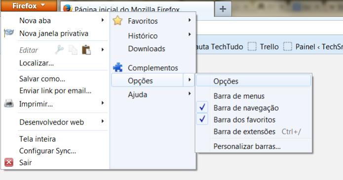 No canto superior esquerdo, vá até as opções do Firefox  (Foto: Reprodução/Henrique Duarte)