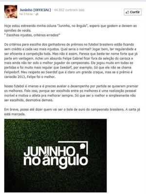 Juninho no ângulo (Foto: Reprodução / Facebook)