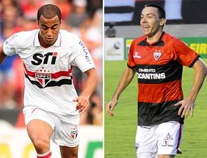 Lucas do São paulo e Felipe do Atlético-GO (Foto: Montagem sobre foto da Agência Estado)