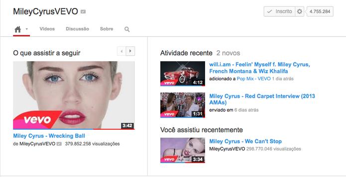 Canal de Miley Cyrus do Vevo no YouTube (Foto: Reprodução/YouTube)