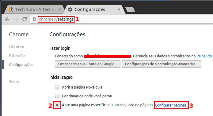Ajustando o Chrome para iniciar um conjunto de páginas ao iniciar (Foto: Reprodução/Edivaldo Brito)