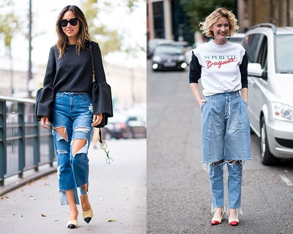 Os jeans descontruídos também são um fenômeno entre as fashionistas (Foto: Imaxtree)