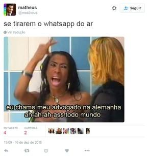 Inês Brasil chama seu advogado em meme do Twitter após proibição do WhatsApp no Brasil (Foto: Reprodução/Twitter/@msstheus)