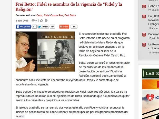 Encontro de Frei Betto e Fidel Castro foi noticiado no 'Cubadebate'.  (Foto: Reprodução / Cubadebate)