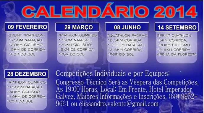 Calendário de competições 2014  (Foto: Divulgação/ Federação Acreana de Triathlon)