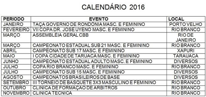 Calendário 2016 do basquete acreano (Foto: Divulgação/Feab)